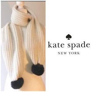 😍NWT! Kate Spade Cream Black Luxe Fur Knit Scarf